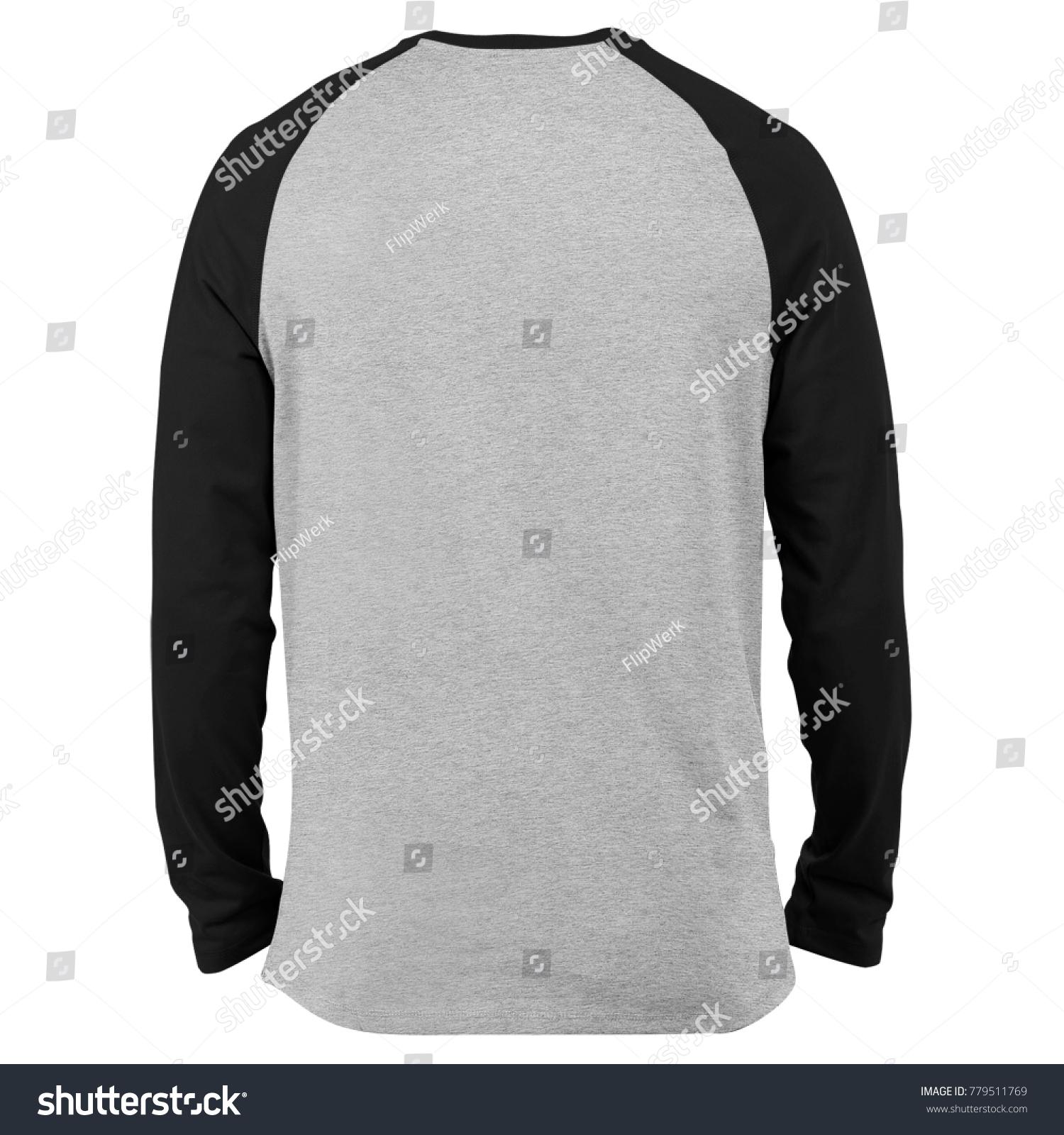 049886580 blank t shirt raglan long sleeve template for mockup in white background