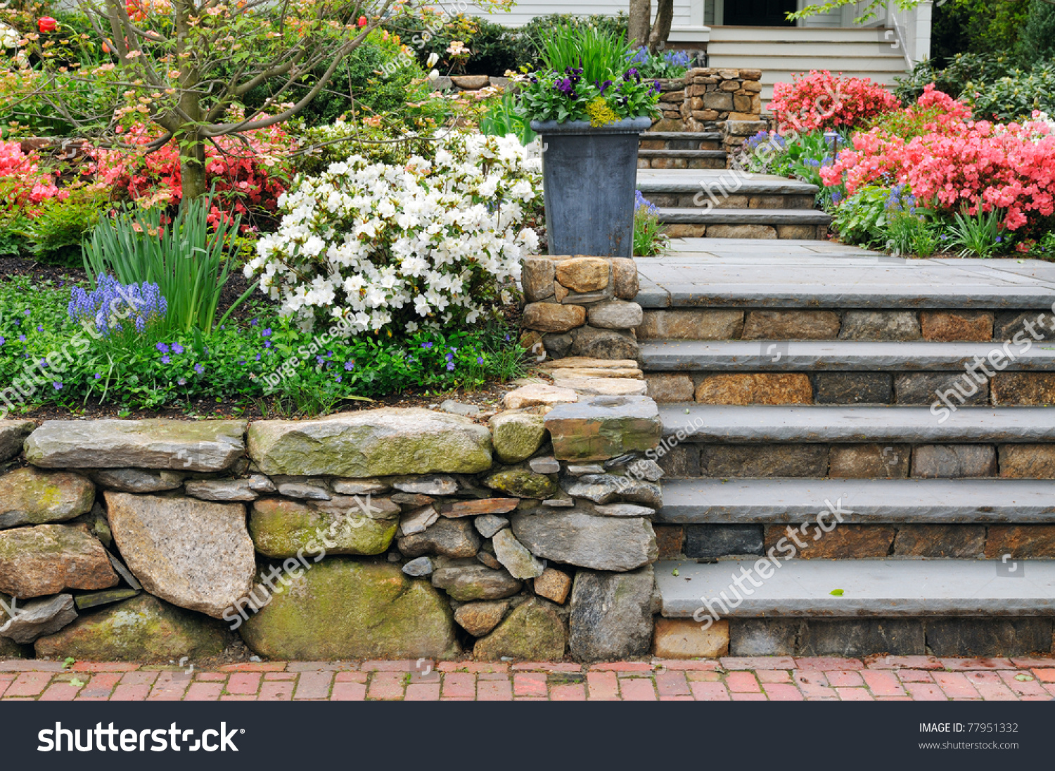 Natural Stone Steps And Retaining Wall, Planter And Garden Border Framing  Home Entrance. Beautiful