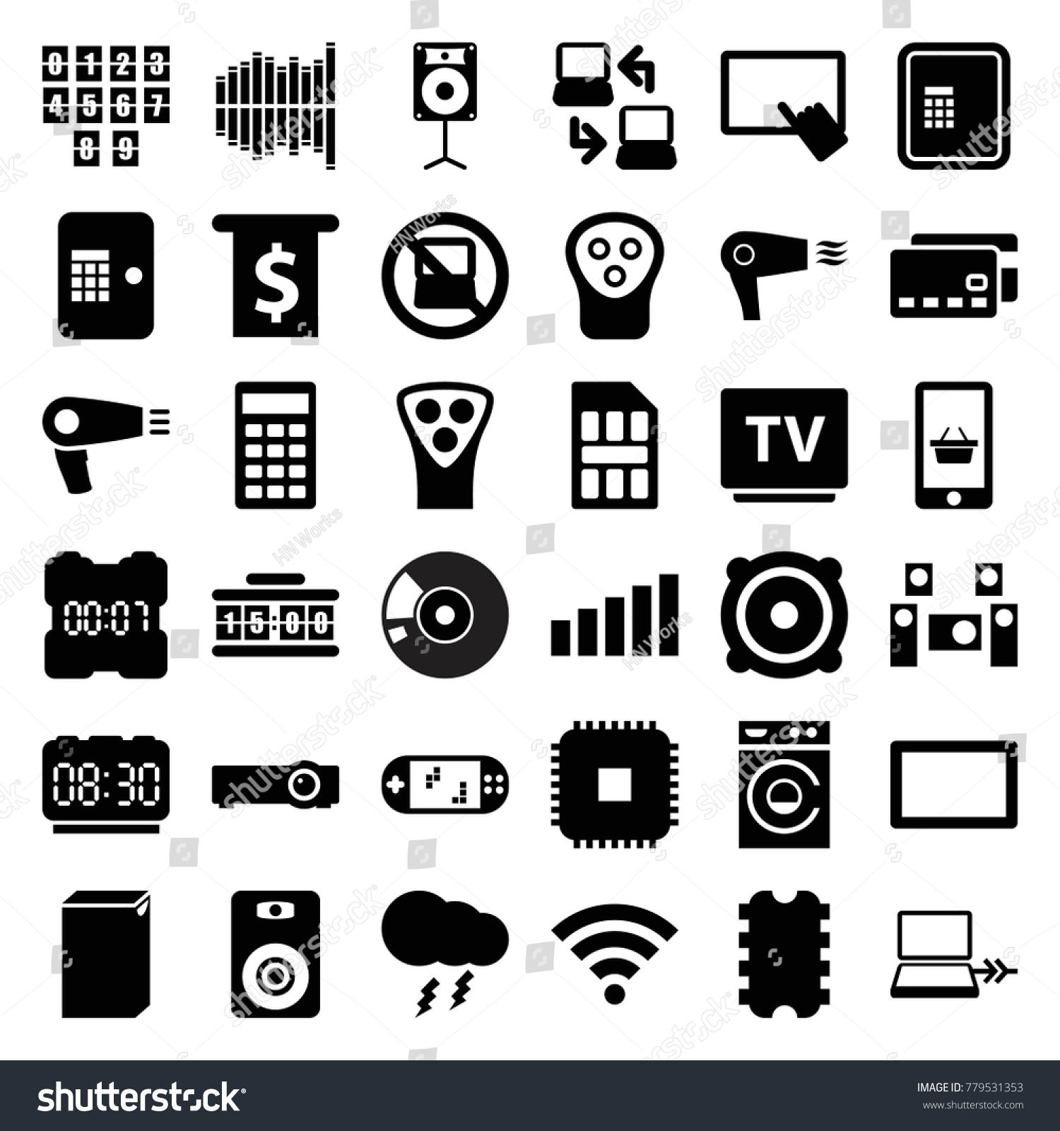 Electronic icons set 36 editable filled stock vector 779531353 electronic icons set of 36 editable filled electronic icons such as no laptop atm biocorpaavc Choice Image