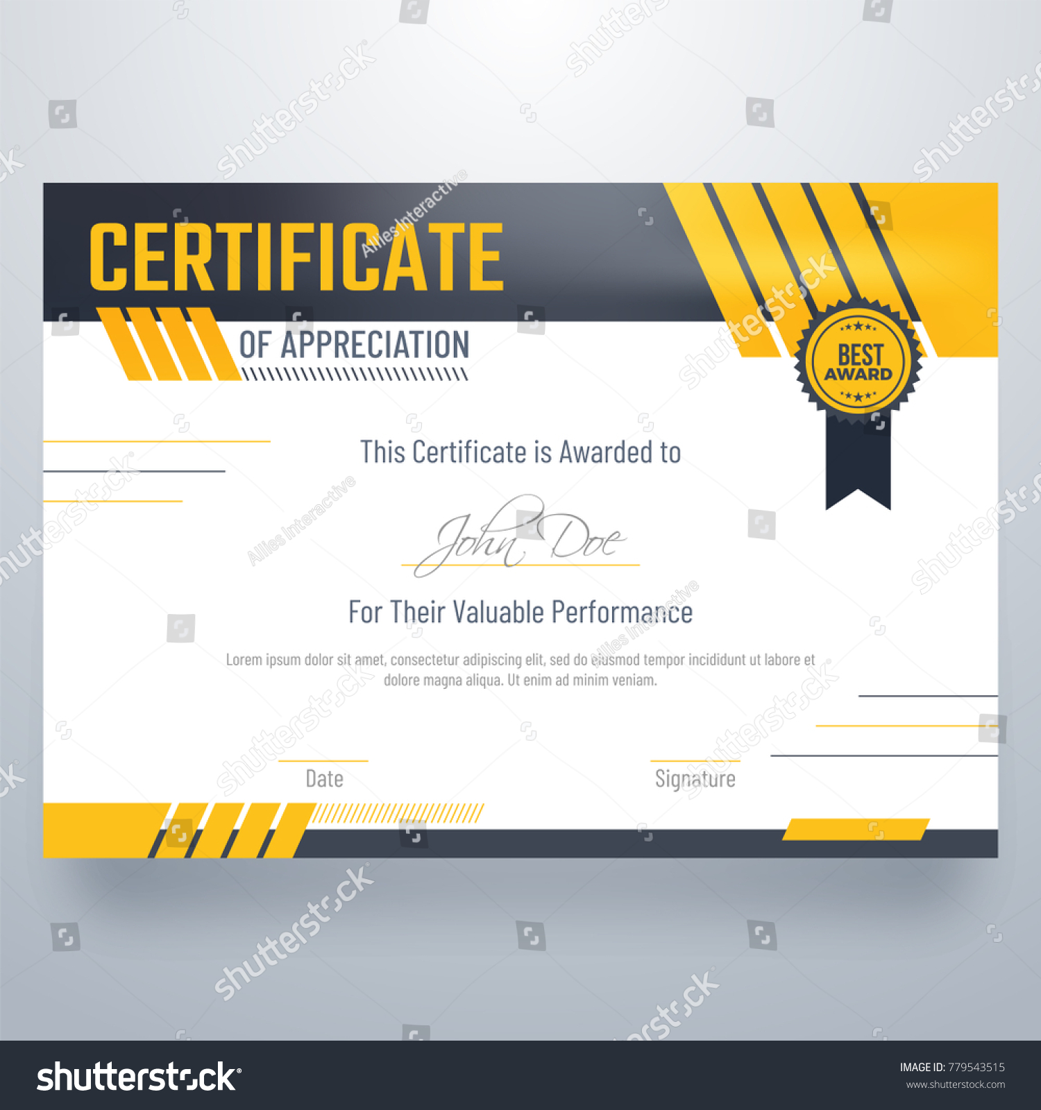 Certificate appreciation award template glossy yellow stock vector certificate of appreciation award template in glossy yellow and black color xflitez Choice Image