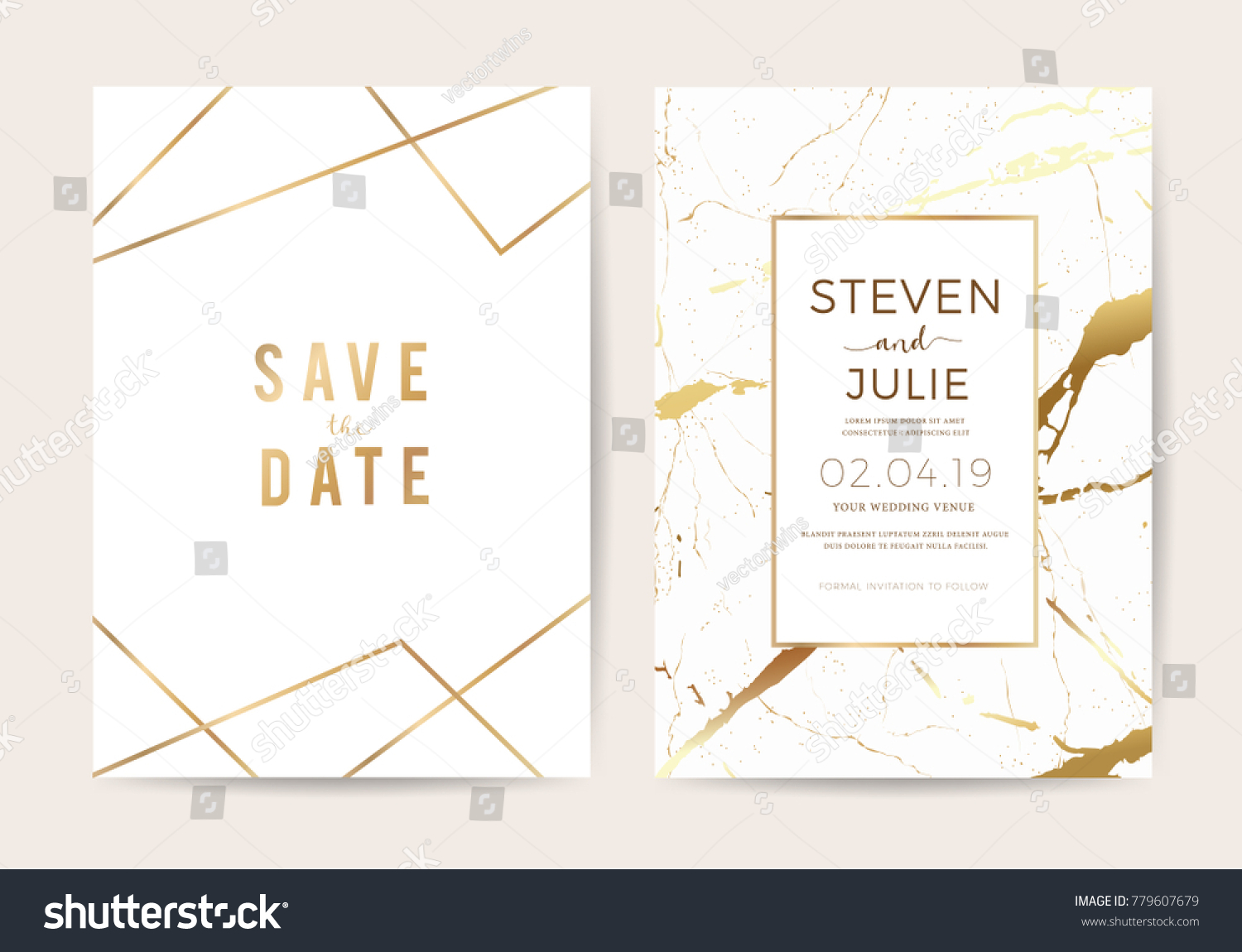 Luxury wedding invitation cards gold marble stock vector 779607679 luxury wedding invitation cards with gold marble texture and geometric pattern vector design template stopboris Images