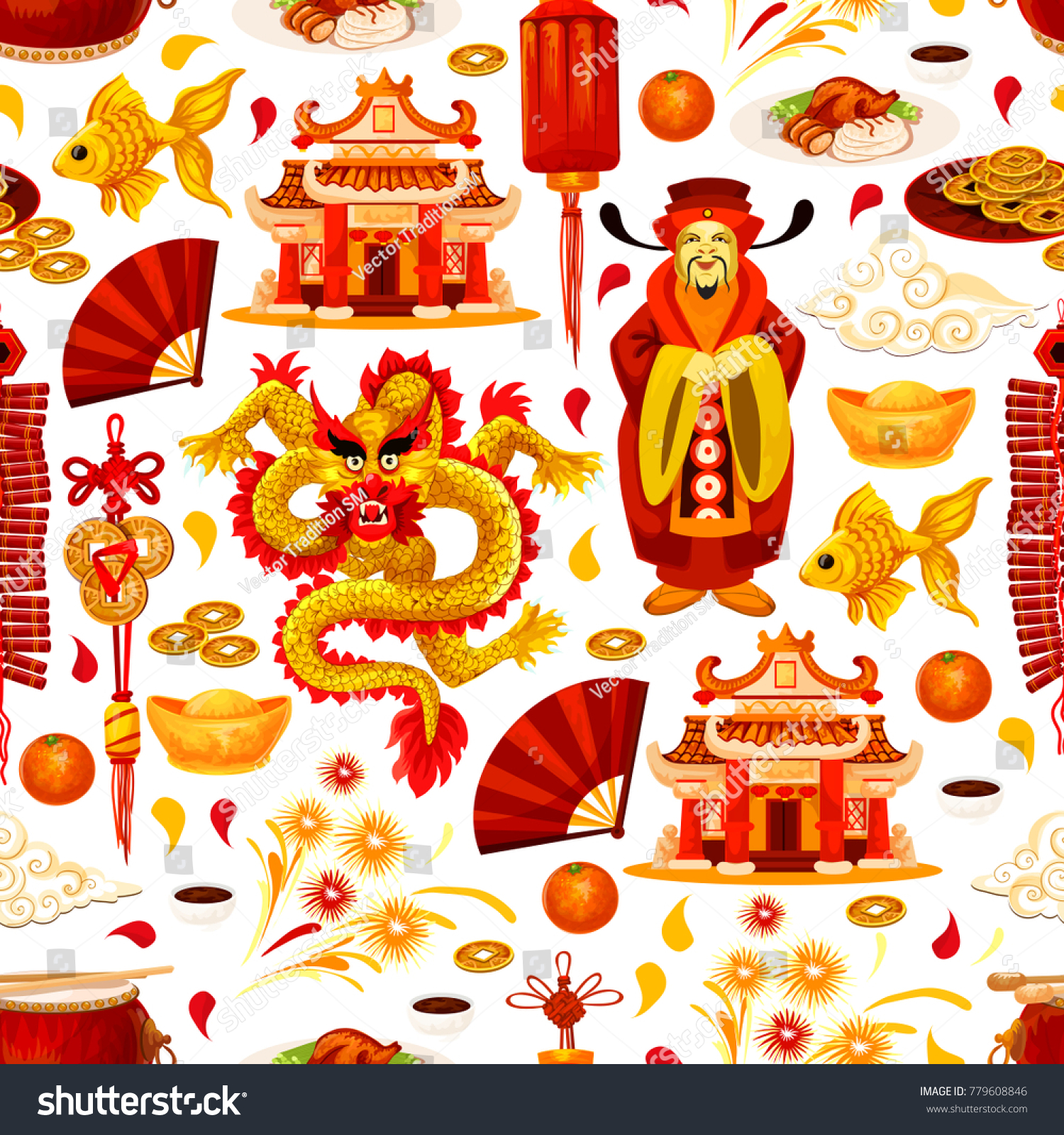 chinese lunar new year holiday traditional symbols seamless pattern vector background of golden china decorations - Chinese New Year Holiday