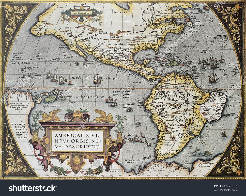 America Old Map Theatrum Orbis Terrarum Stock Photo - Old maps of america