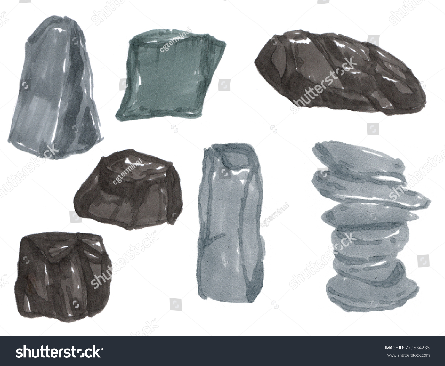Royalty Free Stock Illustration of Set Different Stones