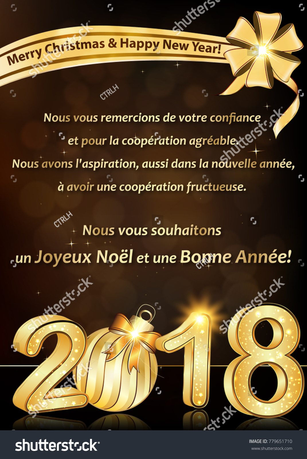 Thank you business happy new year stock illustration 779651710 thank you business happy new year 2018 greeting card written in french corporate greeting card kristyandbryce Image collections