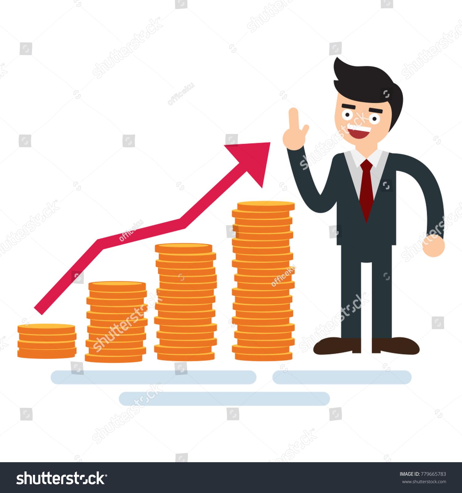 Businessman Money Growth Chart Golden Coins Stock Vector Royalty