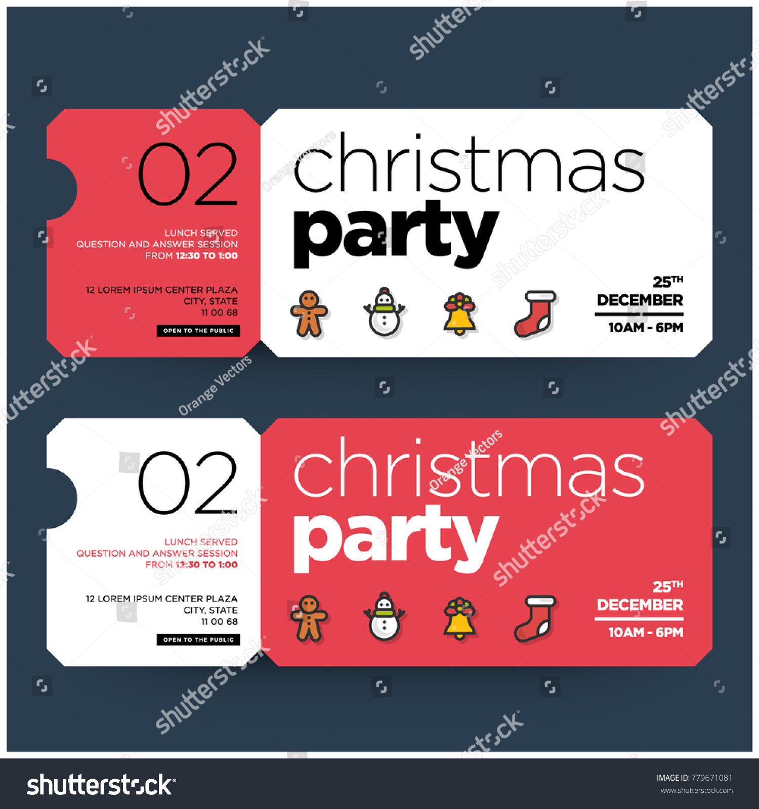 Christmas Party Invitation Design Ticket Style Stock Vector ...