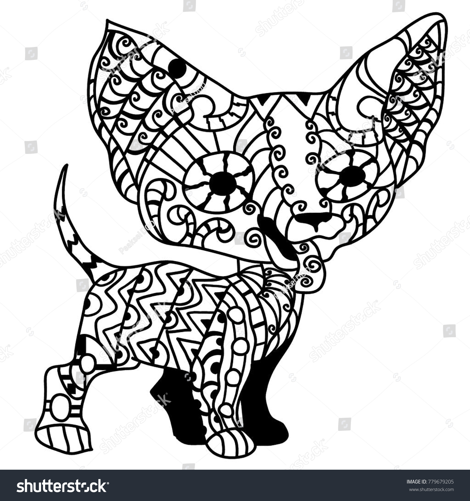 Cute Doggy Chihuahua Coloring Page Stock Illustration 779679205 ...