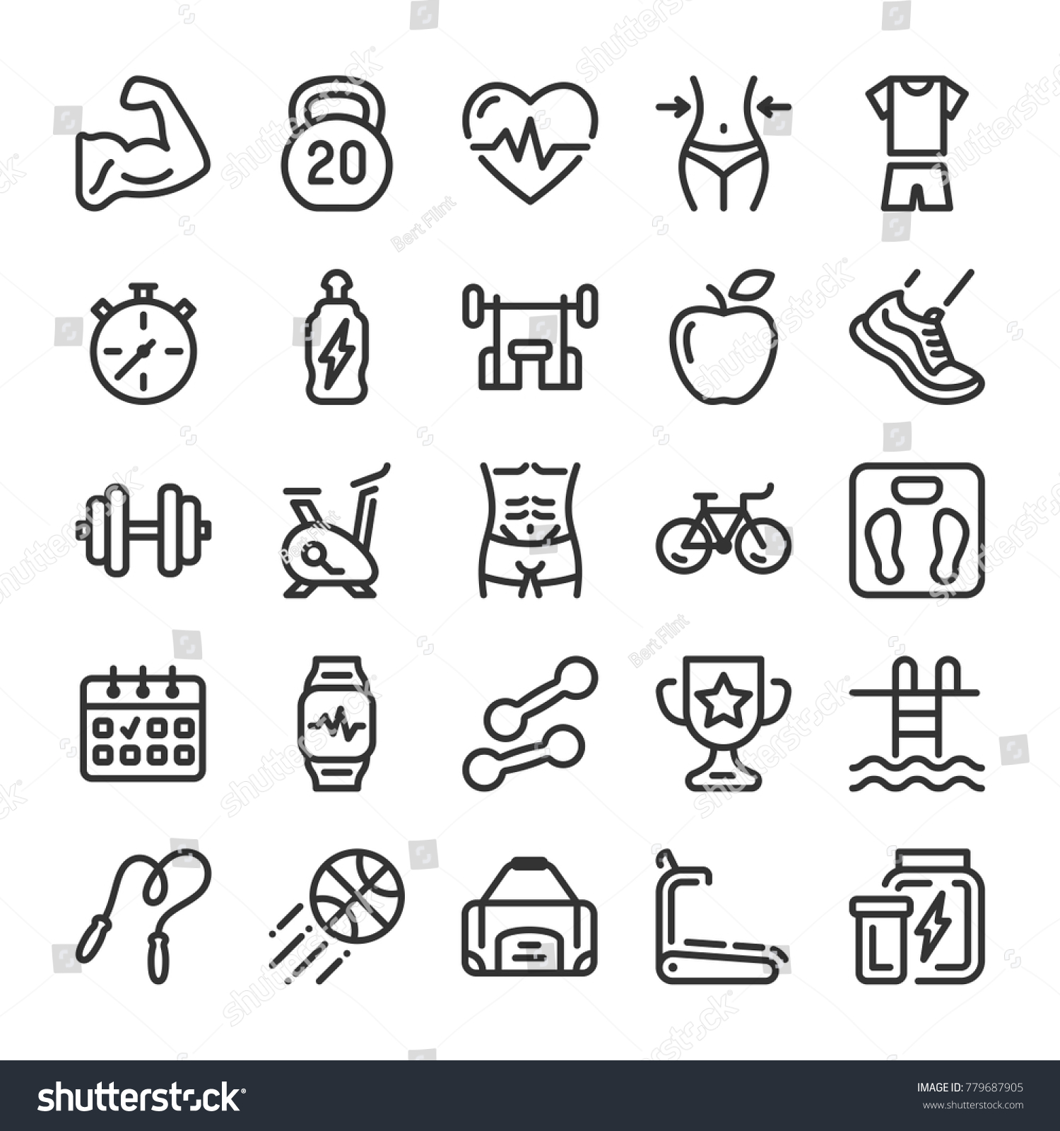 Fitness Sport Icons Set Healthy Lifestyle Stock Vector 779687905