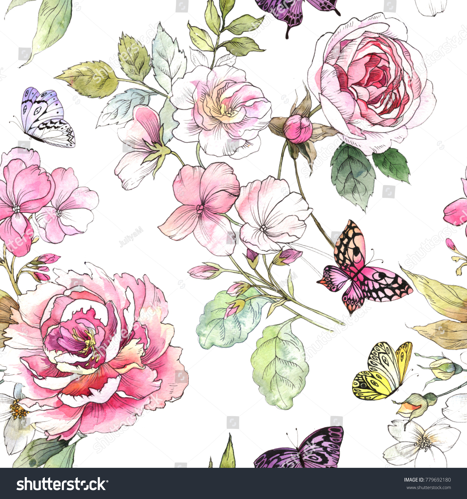Watercolor Floral Pattern Seamless Pattern With Purple And Pink