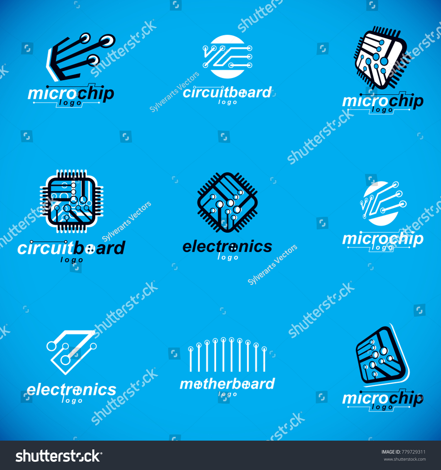 Technology Innovation Logos Set Vector Abstract Stock Design Elements Electrical Circuits Of Computer Circuit Board With Connections