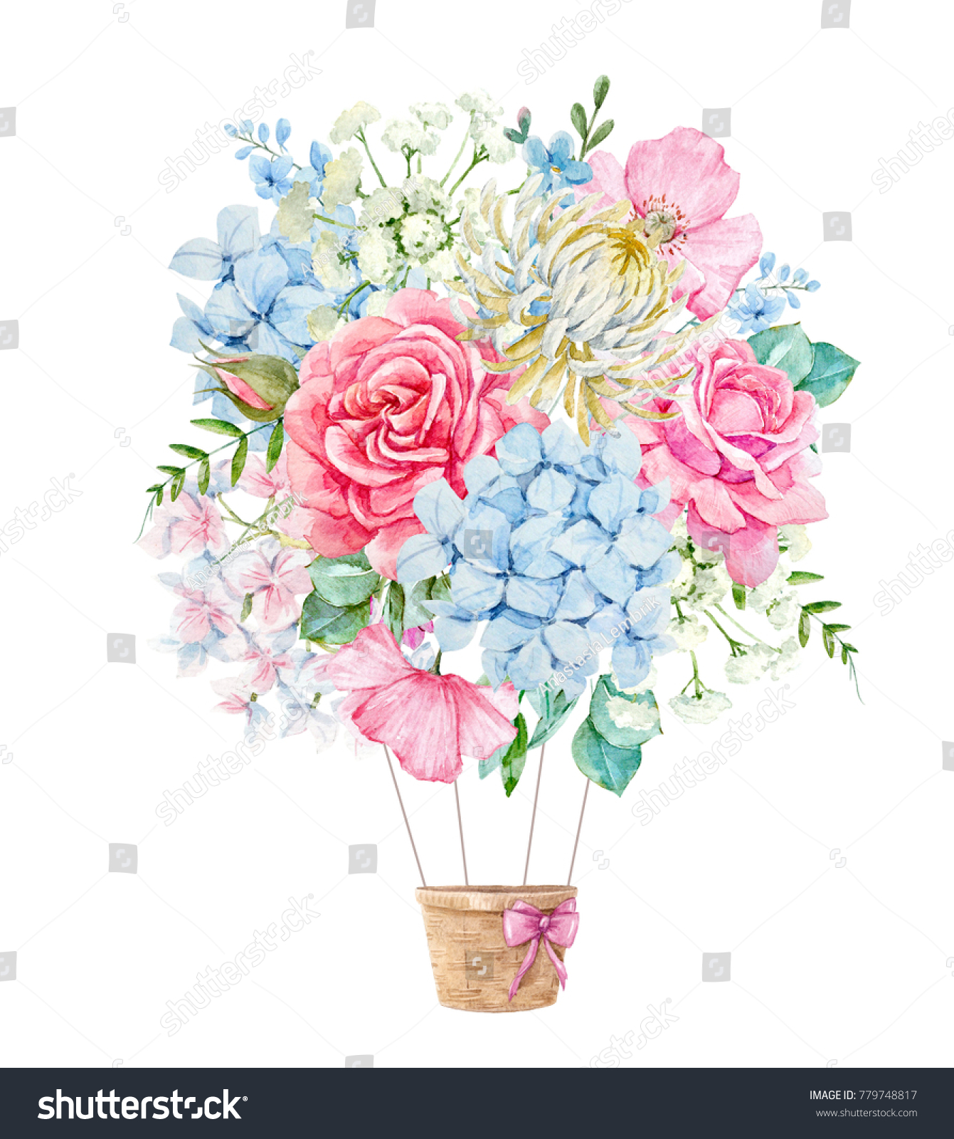 watercolor illustration delicate floral bouquet pink stock