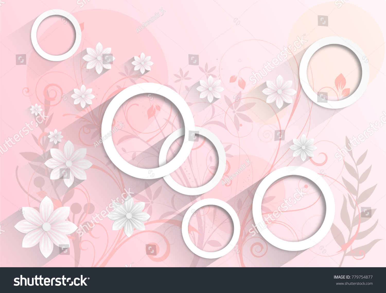 Abstract Pink Wallpaper With Flowers Photo 3D Rendering