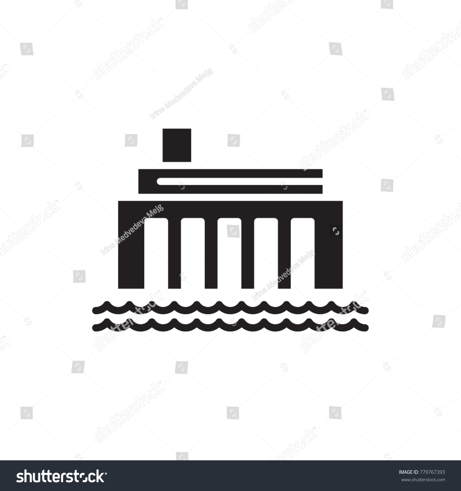Hydro Power Plant Vector Icon Stock Royalty Free 779767393 Line Diagram