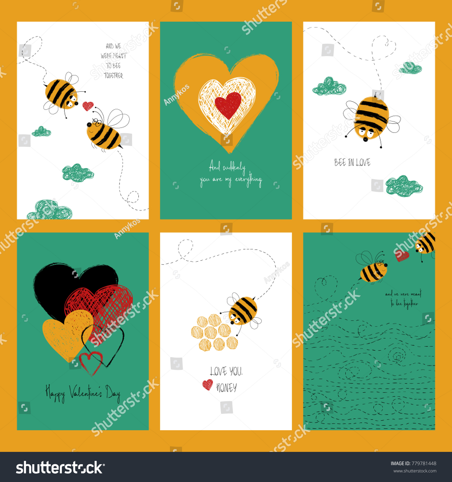 Set Love Greeting Cards Cute Bees Stock Illustration 779781448