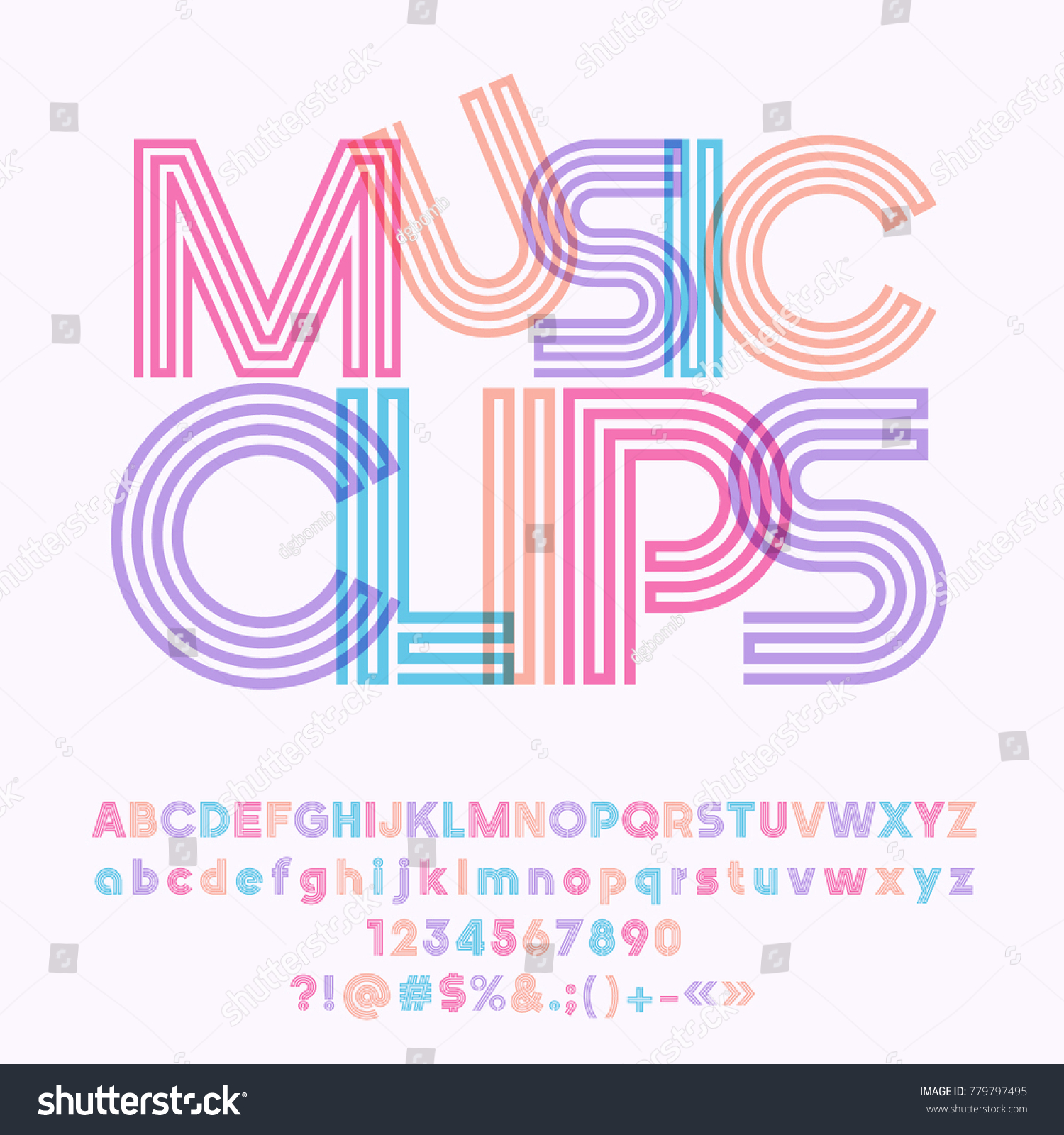 Vector colorful geometric poster music clips stock vector vector colorful geometric poster music clips set of cool tube alphabet letters numbers and biocorpaavc Images
