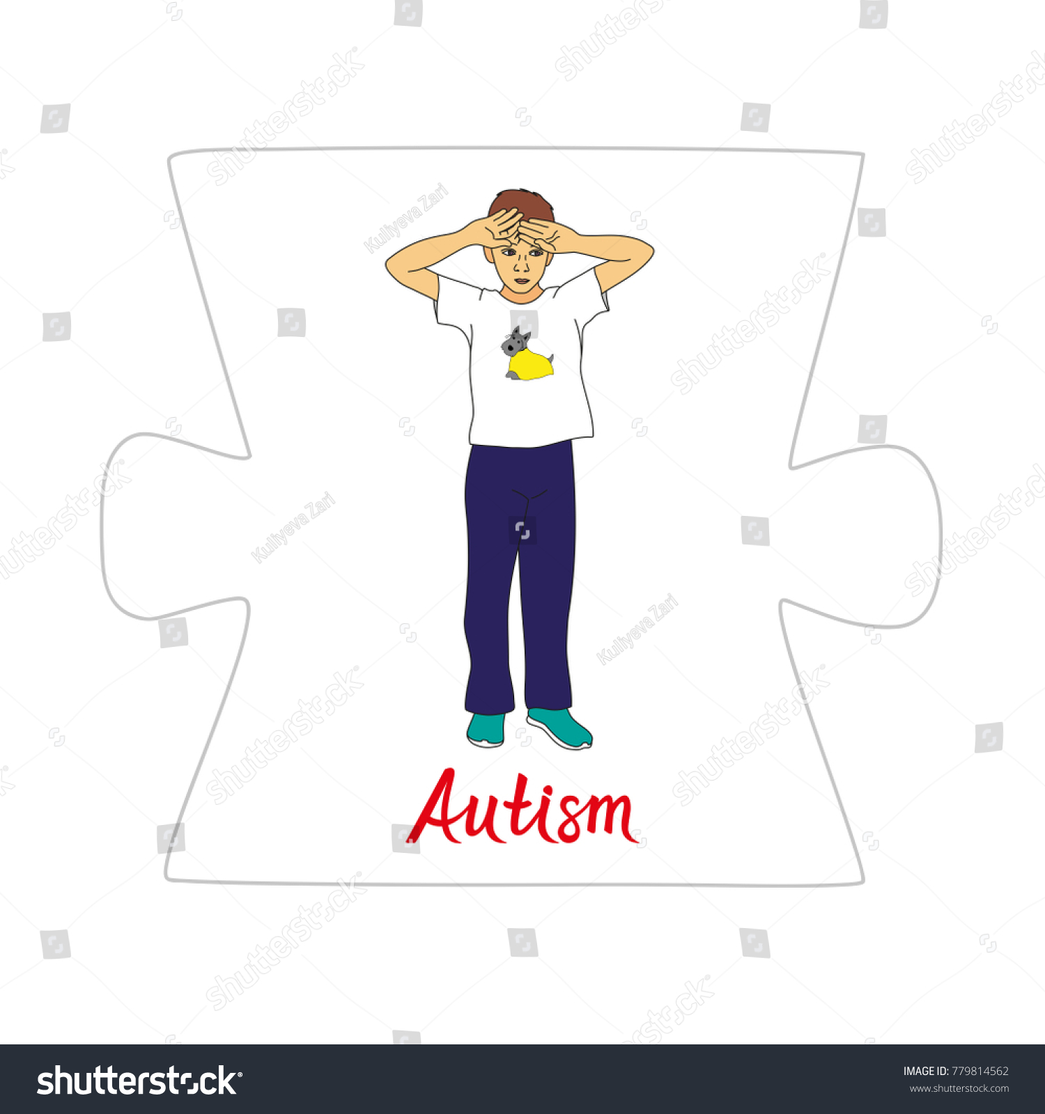 Boy Autism Spectrum Disorder Stock Vector Shutterstock