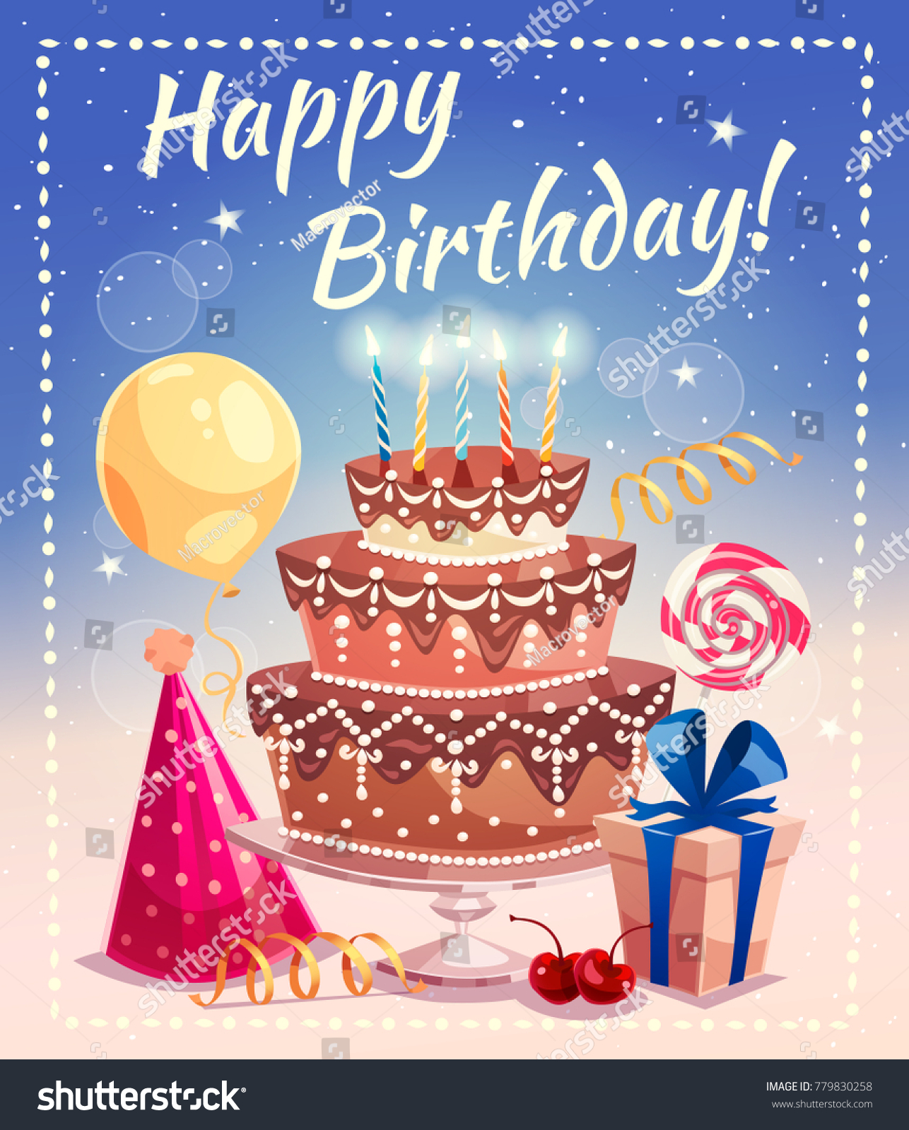 Happy Birthday Greeting Card Big Cake Stock Illustration Royalty