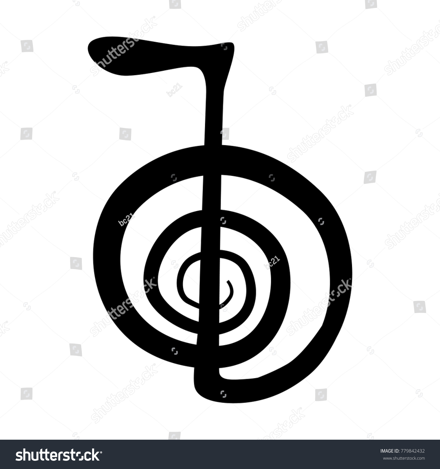 First Reiki Symbol Energy Strength Cho Stock Vector Royalty Free