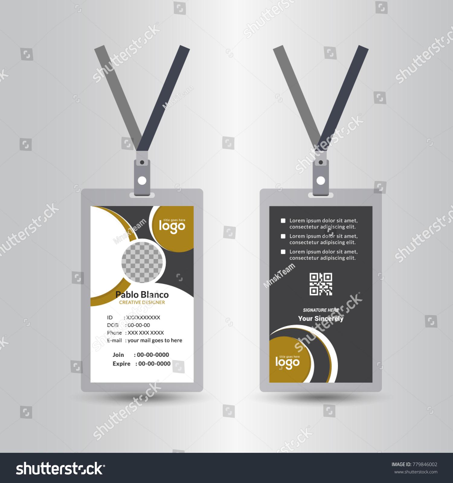 Creative Simple Yellow Black Id Card Stock Vector 779846002 ...