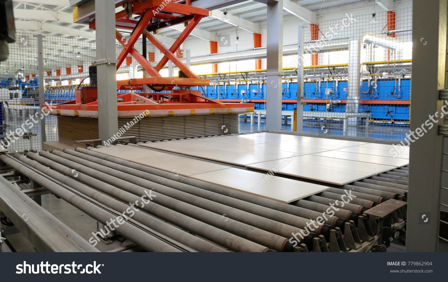 Factory Production Ceramic Tiles Blanking Piercing Stock Photo Edit