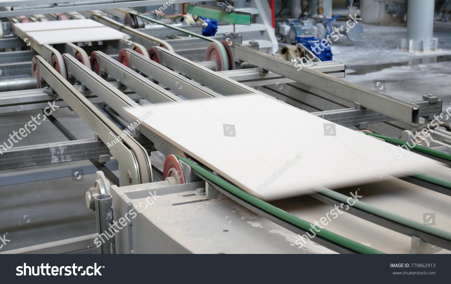 Factory Production Ceramic Tiles Process Making  Industrial Stock