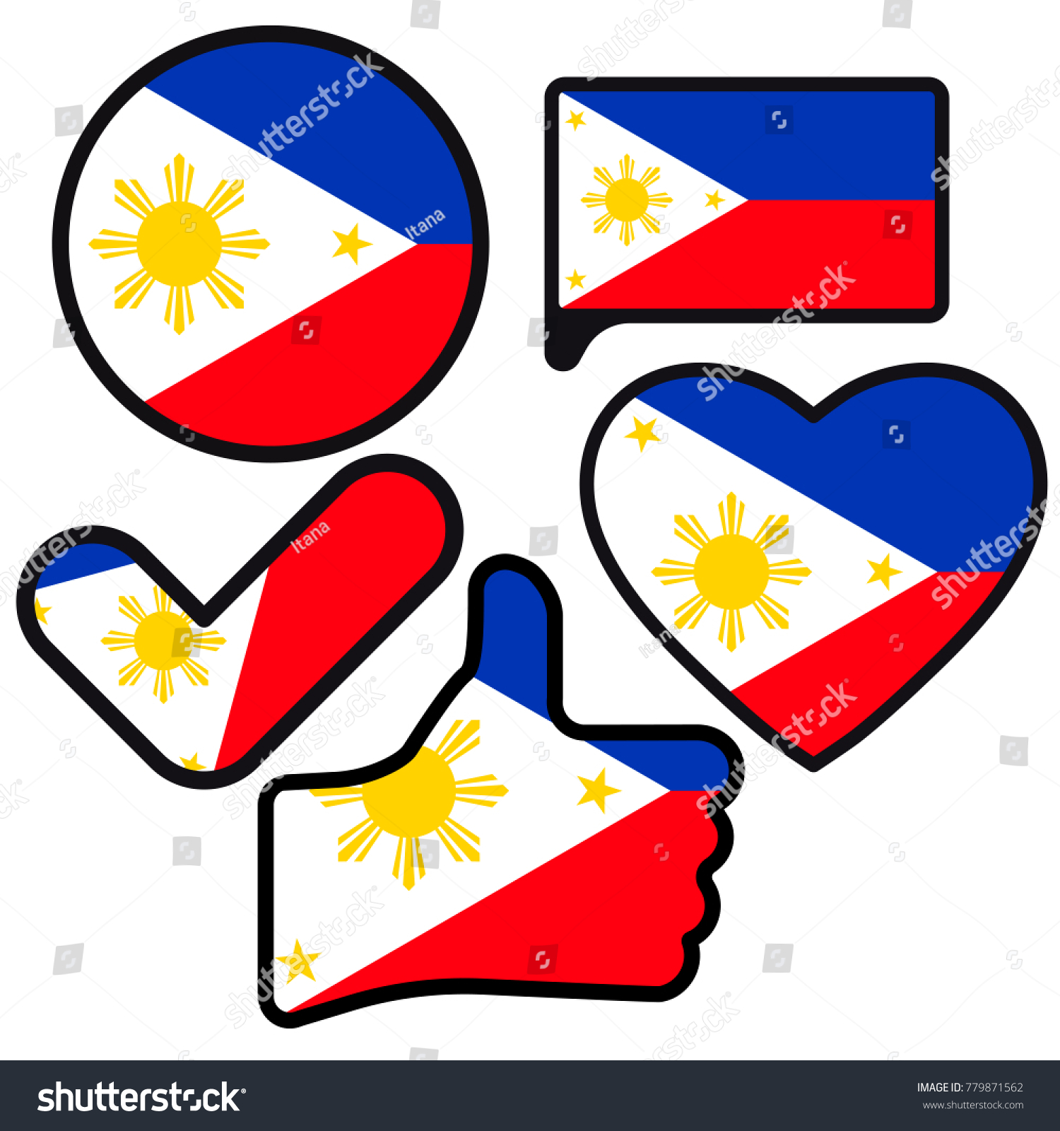 Flag philippines shape button heart like stock illustration flag of philippines in the shape of button heart like check mark buycottarizona Images