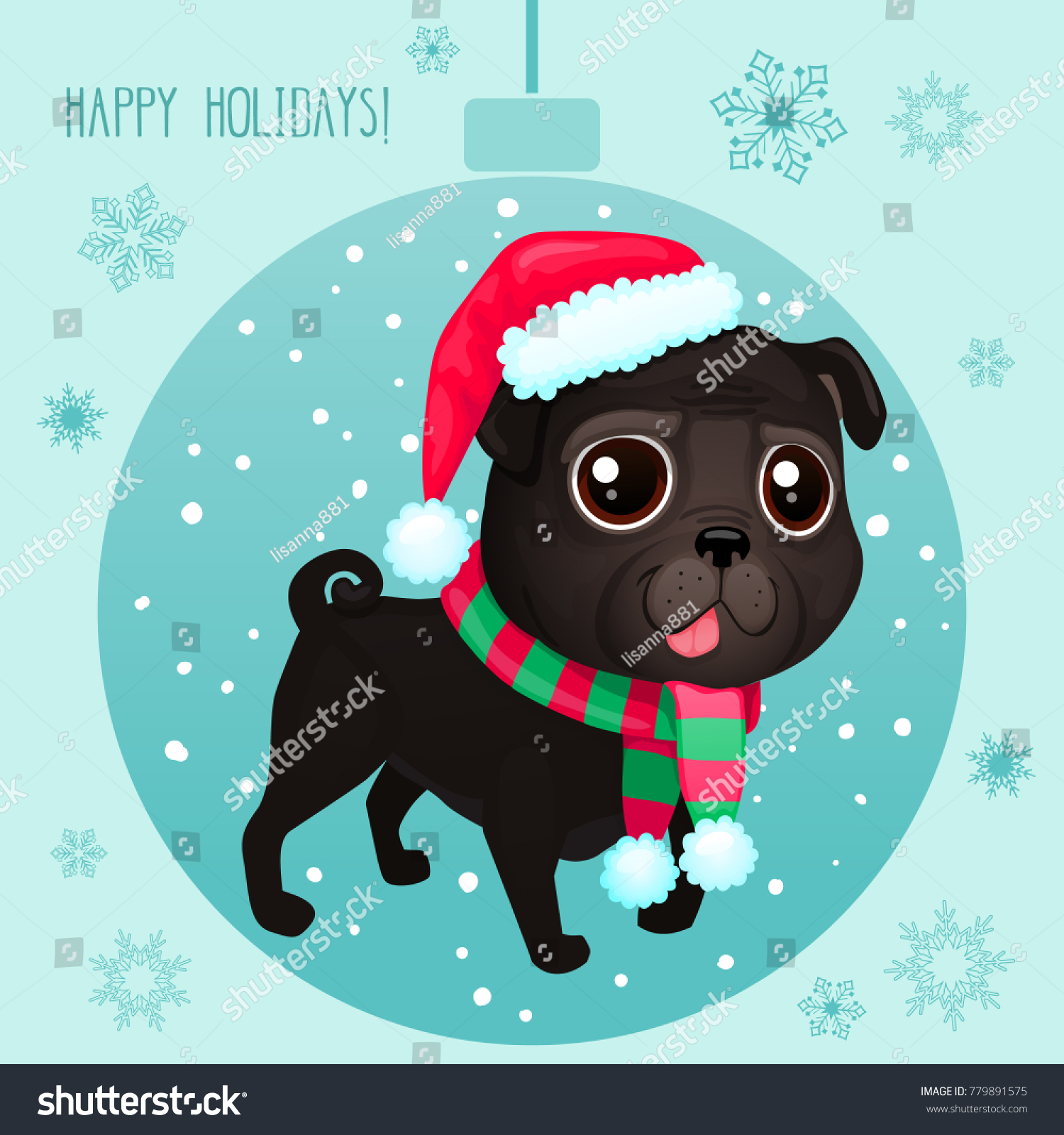 Vector cartoon christmas dog symbol new stock vector 779891575 vector cartoon christmas dog symbol of new year 2018 color illustrations with cute black biocorpaavc Image collections