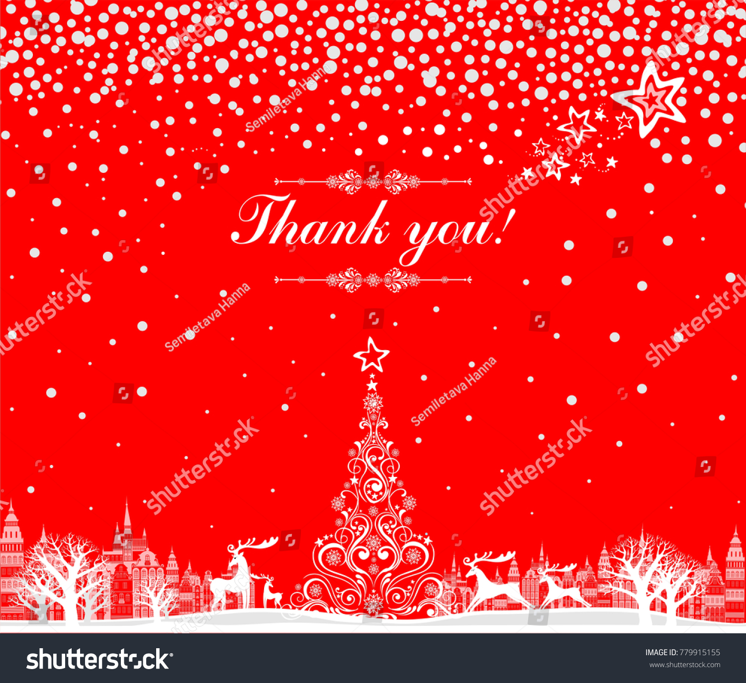 Thank You Card Celebration Red Background Stock Vector 779915155