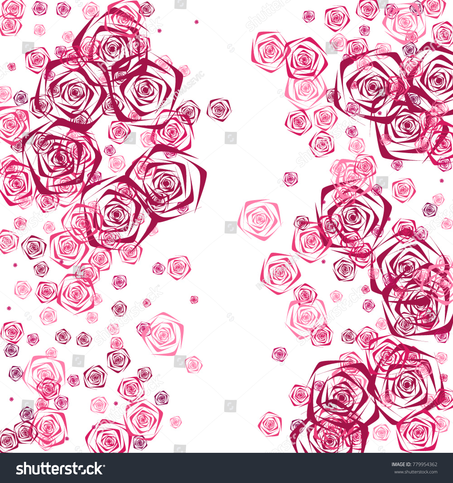 Pink And Purple Roses Of Different Sizes On A White Background