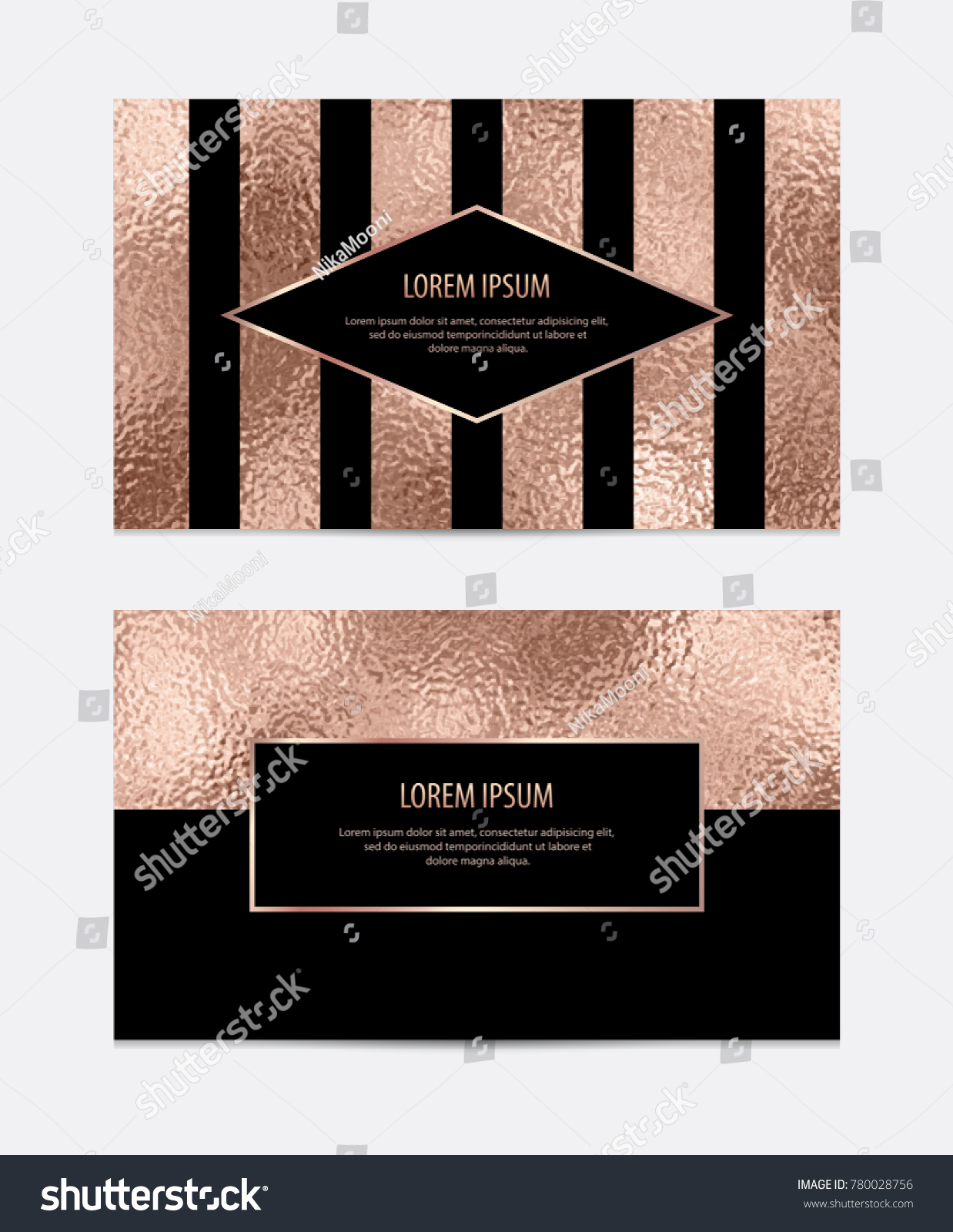 Modern Business Card Rose Gold Texture Stock Vector 780028756 ...