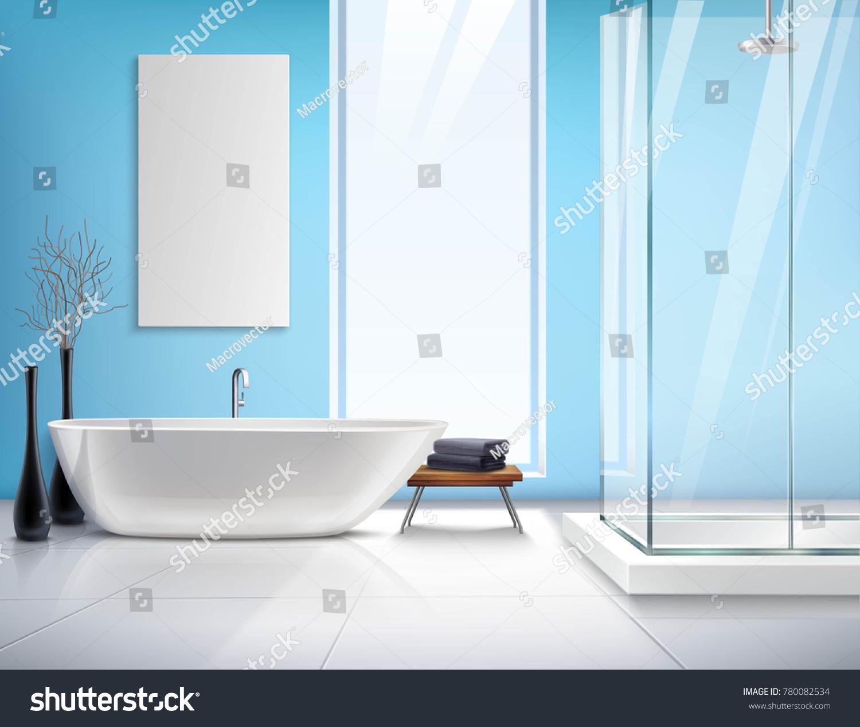 Modern Light Bathroom Realistic Interior Design Stock Illustration ...