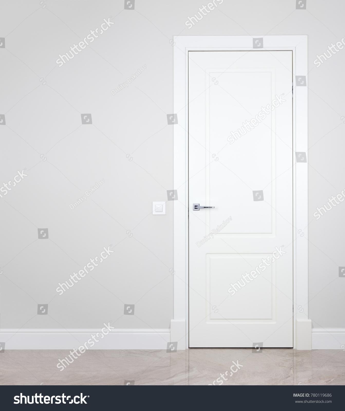 modern white interior door. Modern White Door. Grey Wall With Free Space. Minimalist Bright Interior Door