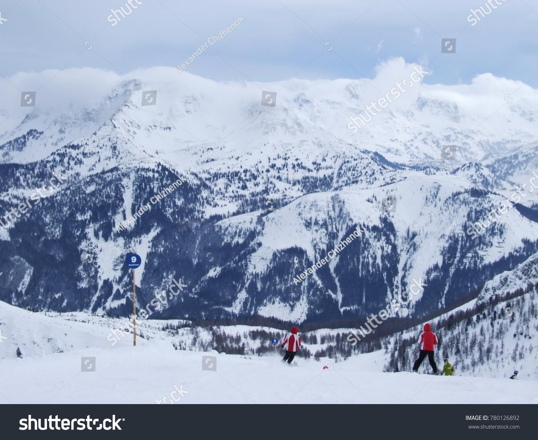 austria ski resort flachau region salzburger stock photo (edit now
