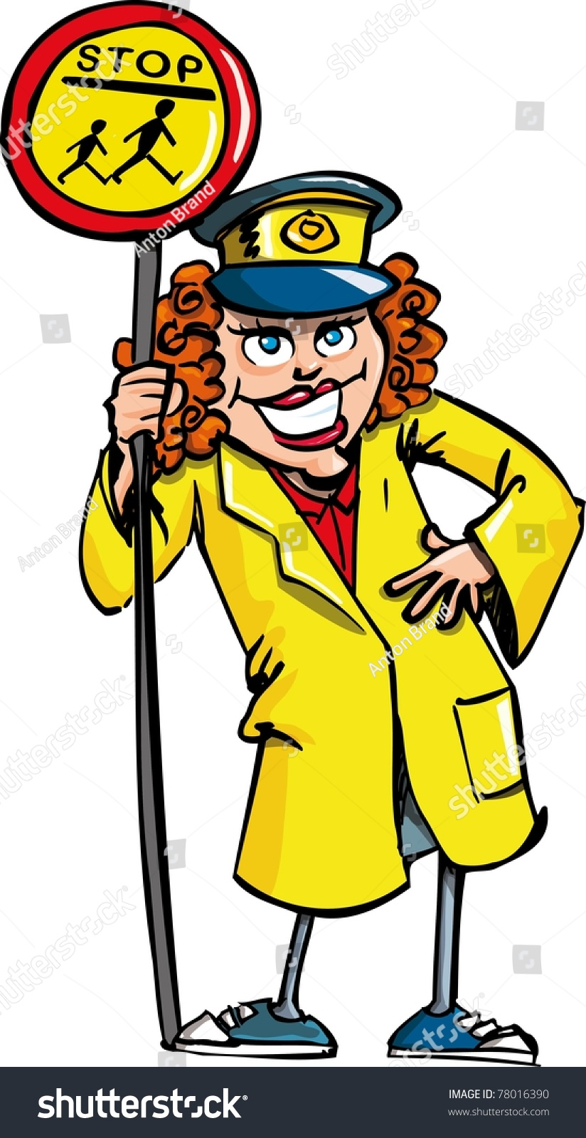 Cartoon Crossing Guard Isolated On White Stock Vector Royalty ...