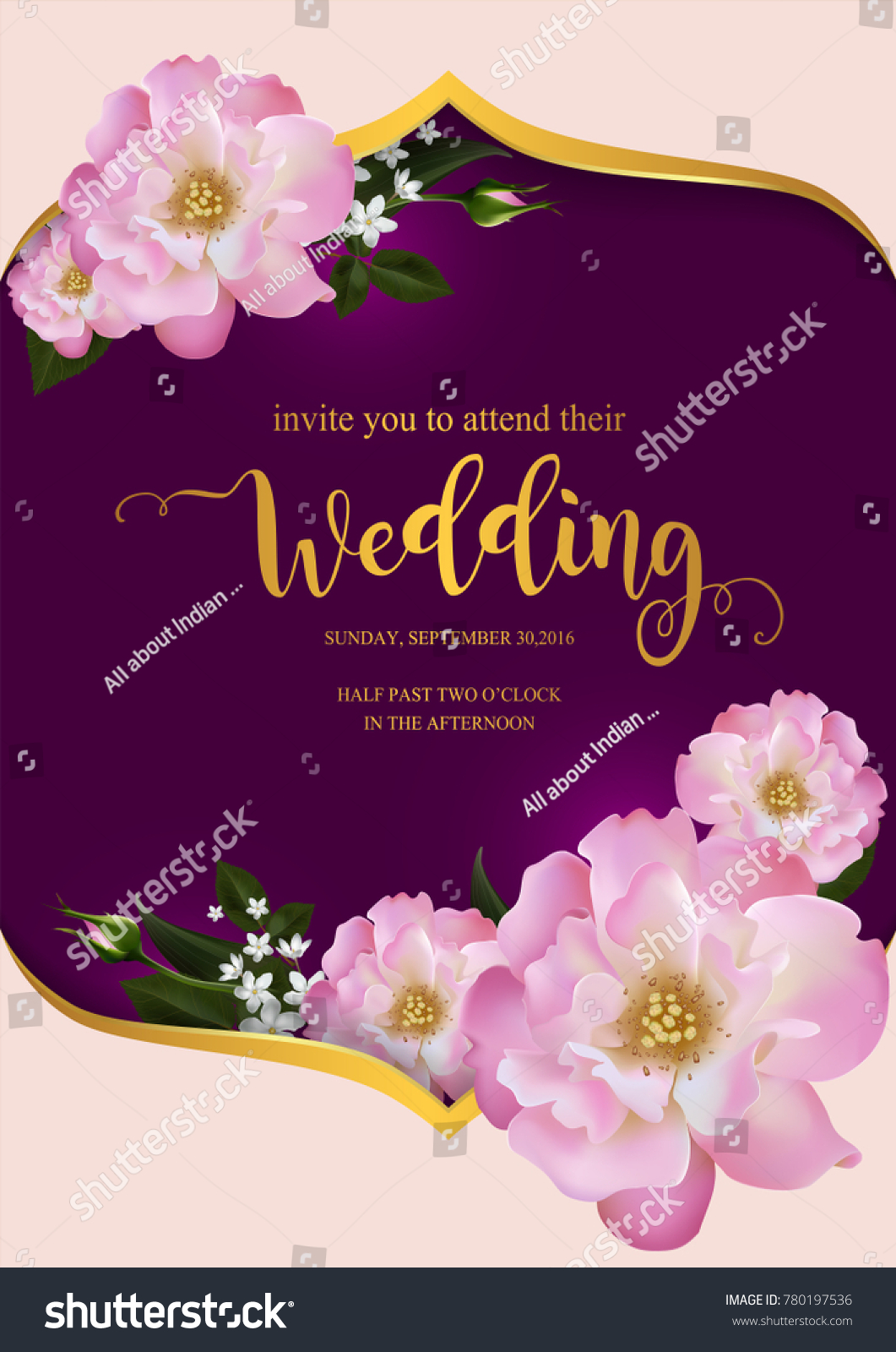 Wedding Invitation Valentine Greeting Holiday Card Stock Vector