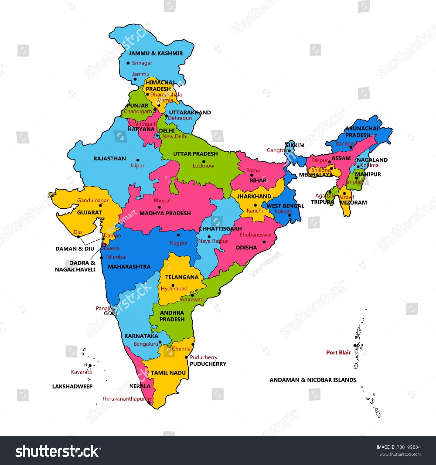 Kuva Yksityiskohtainen Kartta Intiasta Aasiassa Kaikki