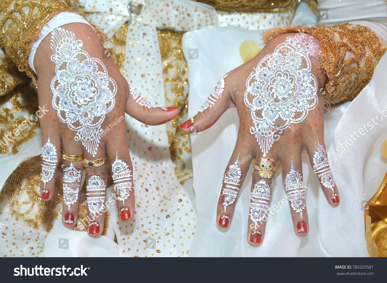 White Henna On Hands Indonesian Wedding Stock Photo Edit Now