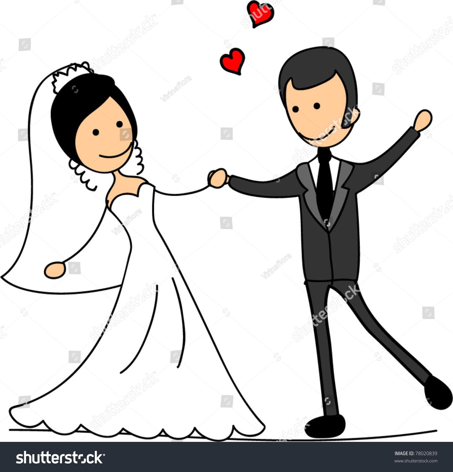 Wedding Cartoon Bride Groom Stock Vector 78020839 - Shutterstock