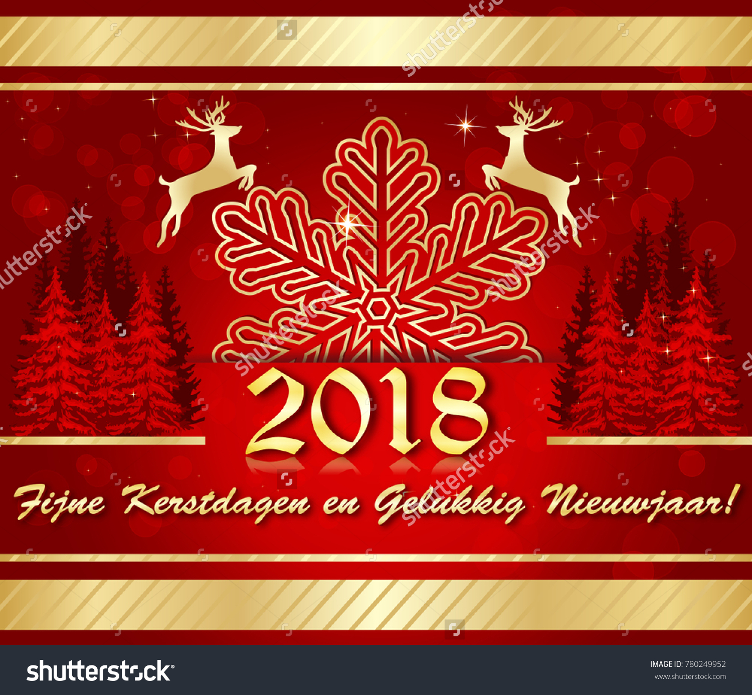 Merry christmas happy new year written stock illustration 780249952 merry christmas and happy new year written in dutch red and golden greeting kristyandbryce Gallery