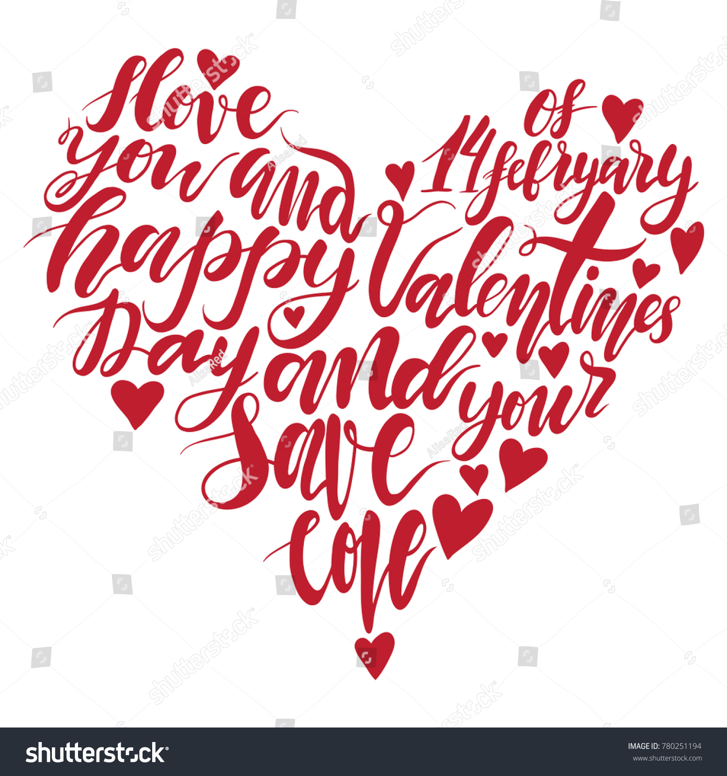 Heart Handwritten Lettering Quote About Love Stock Vector (Royalty ...