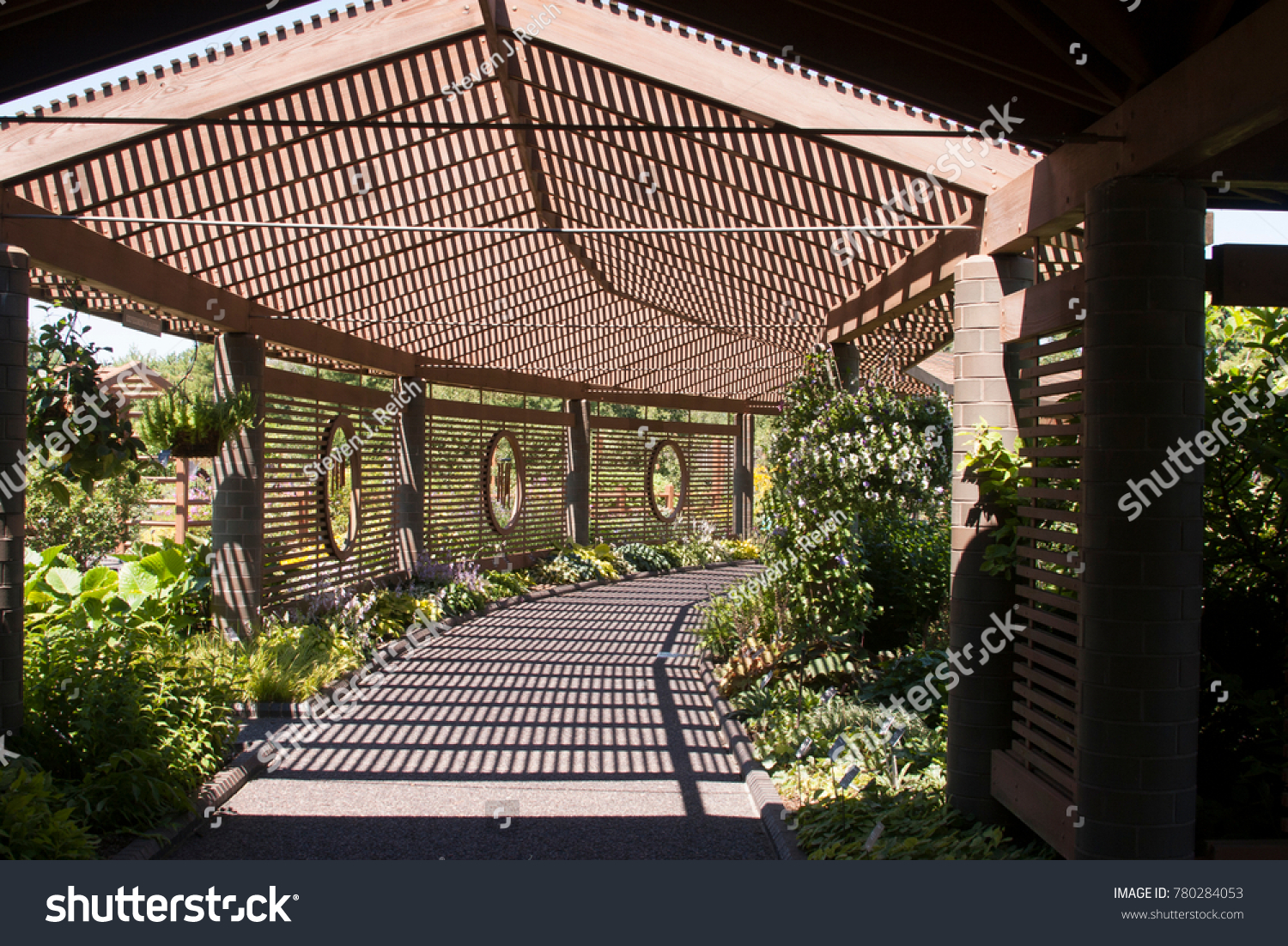 Wooden Lattice Covered Shaded Path Missouri Botanical Stock Photo ...