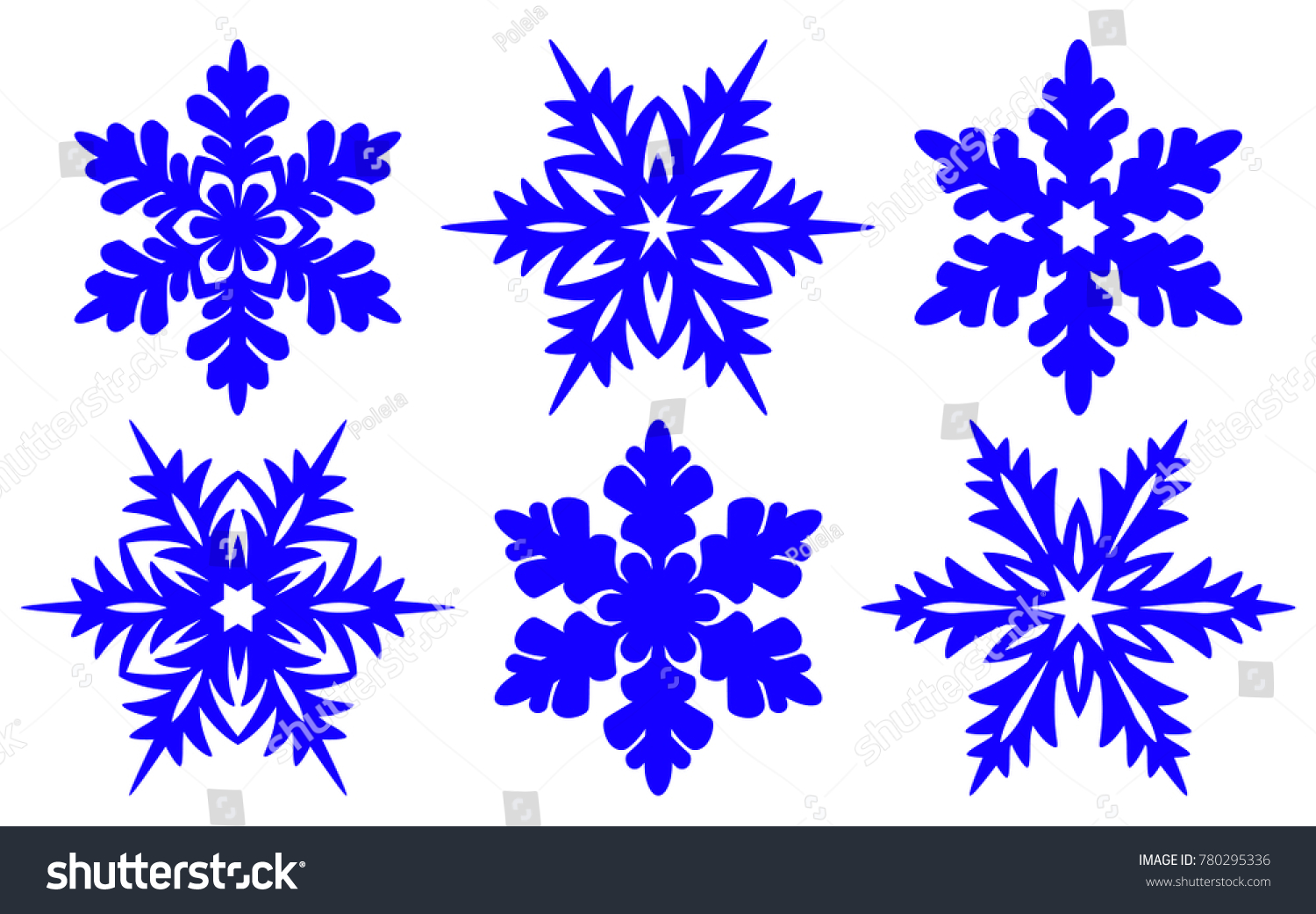 Set Laser Cutting Openwork Snowflakes Template Stock Vector Royalty