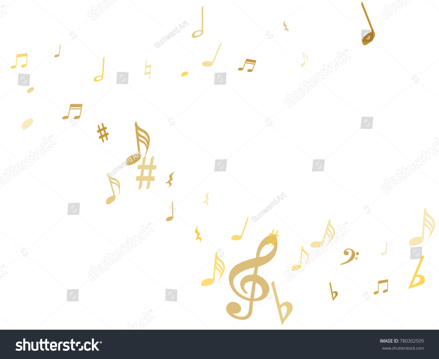 gold flying musical notes isolated on stock vector 780302509 rh shutterstock com Music Note Icon Music Note Icon