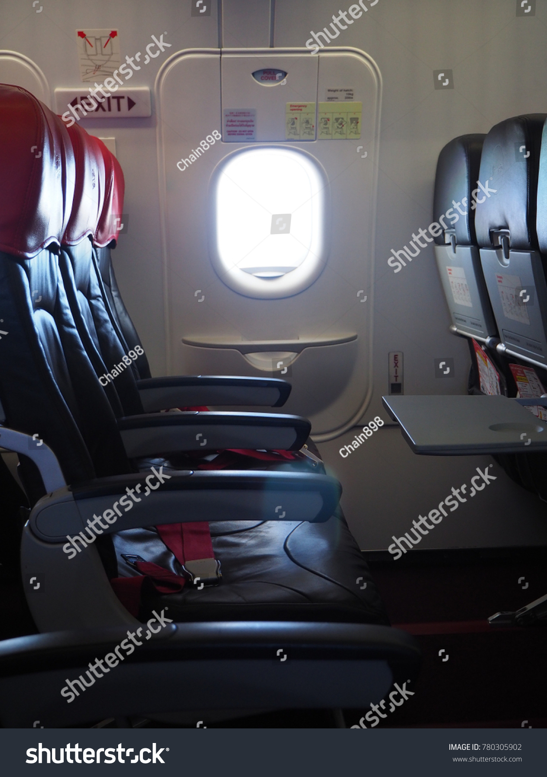 Empty Aircraft Seats Which Color Red Stock Photo (Royalty Free ...