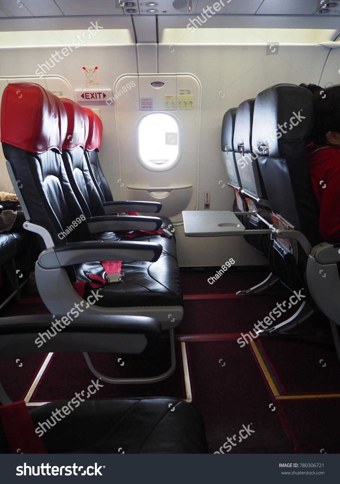 Empty Aircraft Seats Which Color Red Stock Photo (Edit Now ...