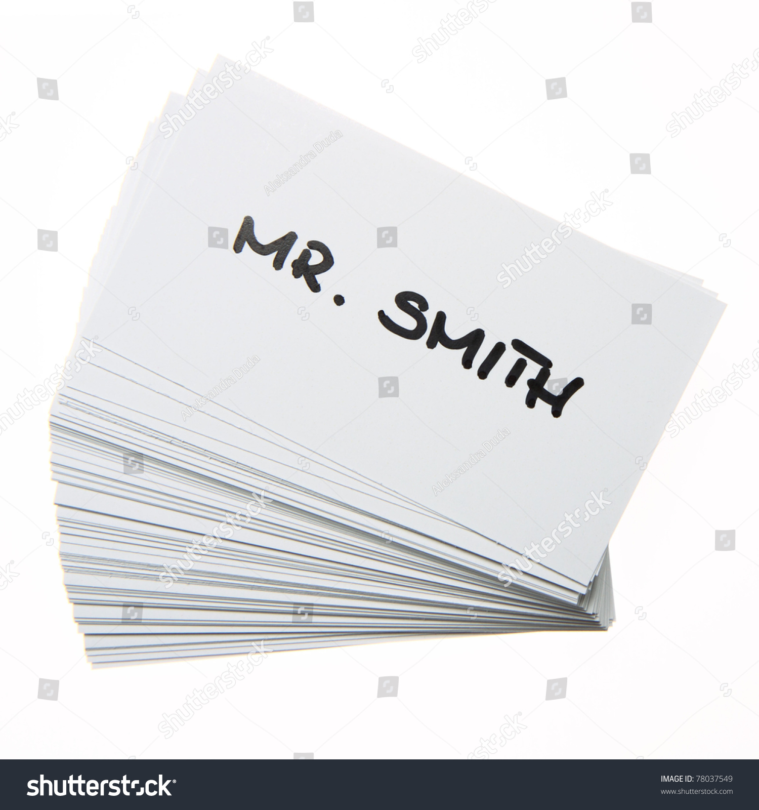 Stack Business Cards Mr Smith Handwritten Stock Photo (Download Now ...
