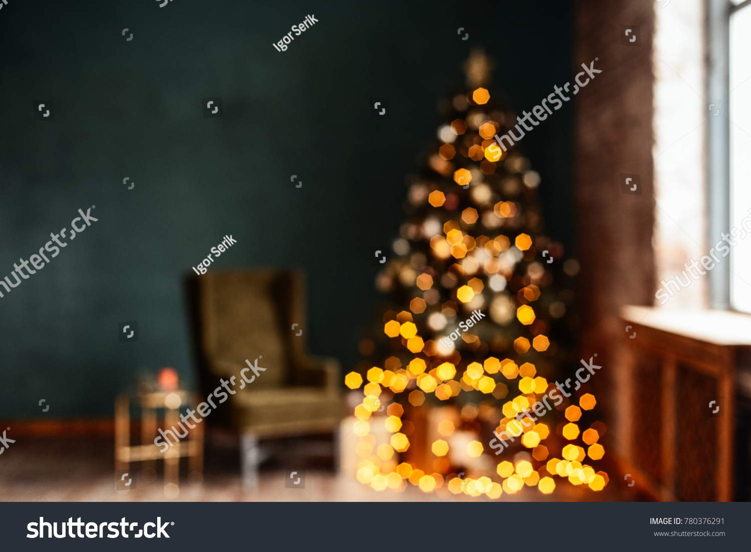 beautiful blurred background christmas gifts under tree in new year decorated house interior ez canvas