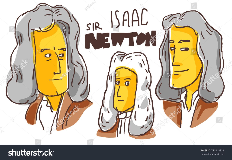 Isaac Newton Yellow Black Sketch December Stock Vector Royalty Free