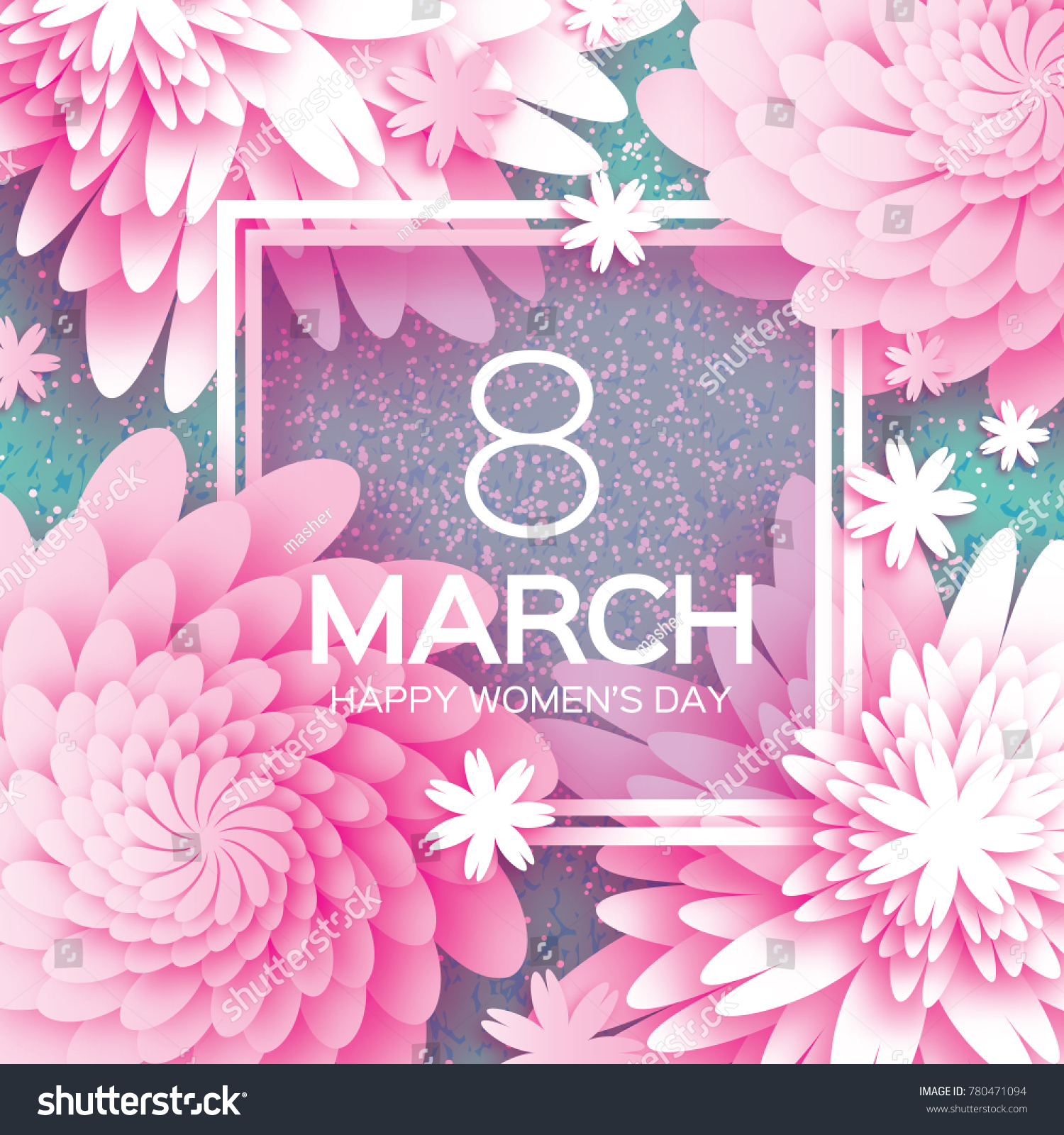 8 March Happy Mothers Day Pink Paper Cut Floral Greeting Card